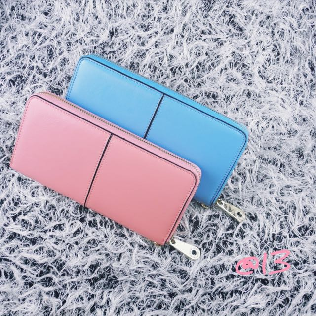 卡馬龍粉嫩草莓牛奶-正牛皮拉鍊長夾/手拿包/皮夾可裝iPhone 6 PLUS