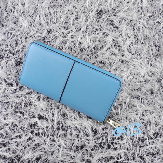 馬卡龍粉藍藍天色正牛皮拉鍊長夾/皮夾/手拿包/可裝iPhone 6 PLUS