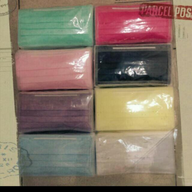 MIT台灣製拋棄式防塵彩色口罩(三層式,裸包)