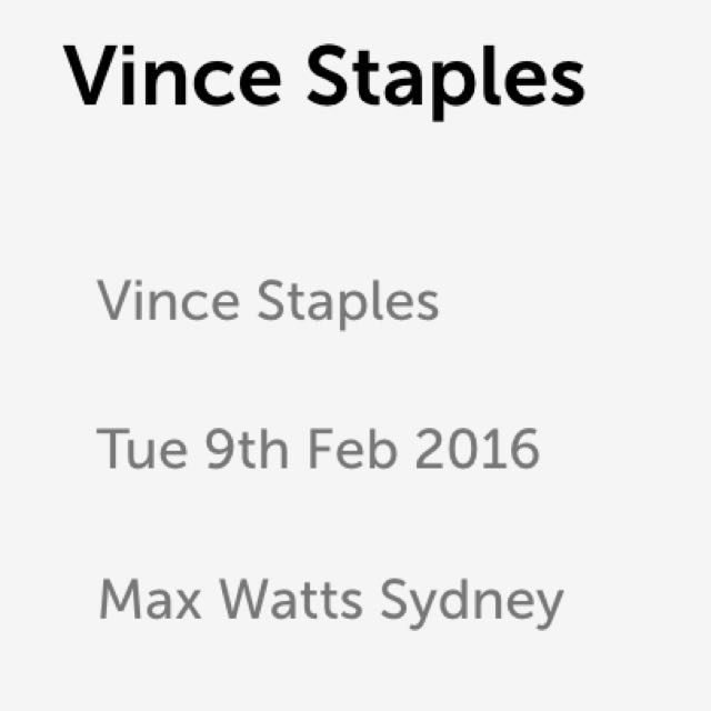 Vince Staples Sydney Sideshow Ticket