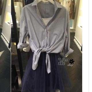 保留待匯款[全新品]日牌 兩件式綁帶襯衫mix背心紗裙連身裙洋裝