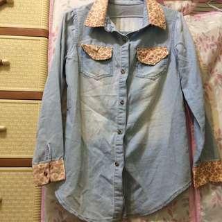 二手📢小粉紅豹紋💕牛仔襯衫