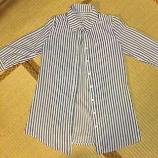 藍色直條紋長版襯衫👕