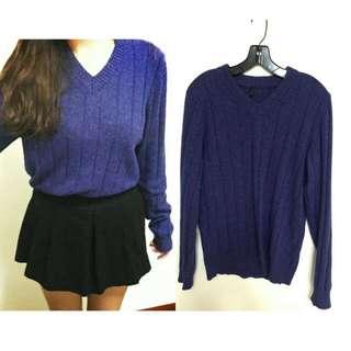 超值整套(可拆)☄寶藍針織毛衣V領 毛呢褲裙