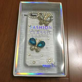 iphone5s鑽石蝴蝶水晶手機透明背蓋殼套 TAKE FANS