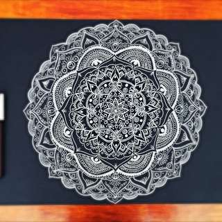 Original Mandala Drawing A3 White On Black