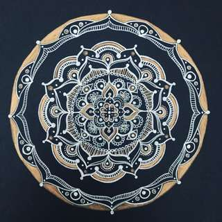 Mandala Drawing, A4, White And Bronze On Black