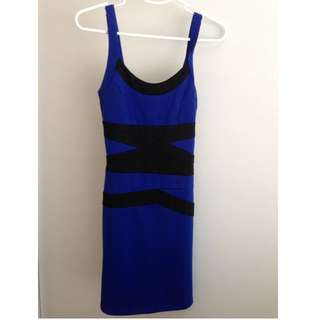 Royal Blue Bodycon Dress - Size S