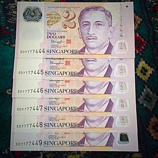 "2005-2010 ++ approx. New Singapore Banknotes $2 Series, Unique & Fancy ""777"" Series, Uncirculated New, 6 Consecutive Runs & 3 Singles - Total 9 Banknotes In This Lot (#116)."