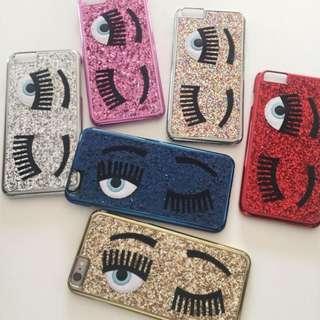 【現貨特價】Chiara Ferragni 亮片眨眼手機殼 iphone 6plus 6+ 金 粉紅 100%全新正品