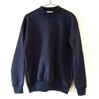 Navy Blue High Neck Sweater (Fleece-lined)