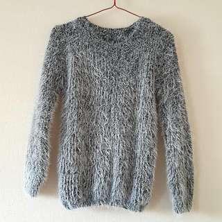 Grey Mohair Knit Top