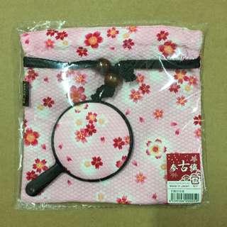 🚚 日本製 櫻花小手鏡x束口袋組