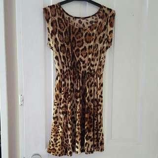 Leopard Pront Skater Dress Size 6/8