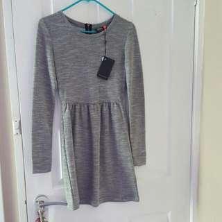 Long Sleeve Grey Skater Dress Size XS