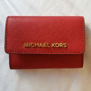 Genuine Michael Kors Red Saffiano Leather Wallet