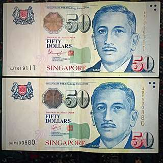2005-2015 ++ approx. New Singapore Yusof Ishak Banknotes $50 Series, 2 Banknotes of Unique & Fancy S/N Number - 4x'1's in one Banknote  & Mix of '0's & '8's in the other Banknote, Lightly Folded, Circulated, Offer of 2 Banknotes in Lot. (#122).