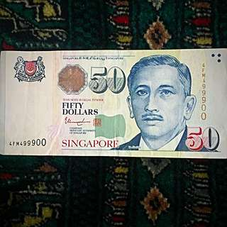 "2012 4th Series Portrait Singapore Banknote $50, Fancy Number: ""4-999-00"". AUNC- (#124)."