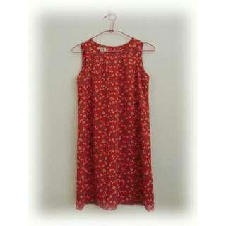 古著大紅小花洋裝
