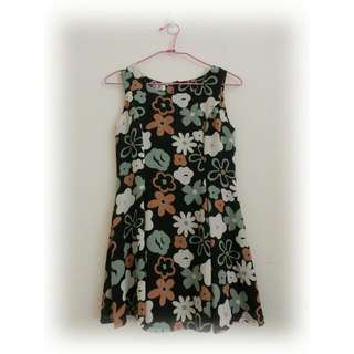 古著深藍大花洋裝