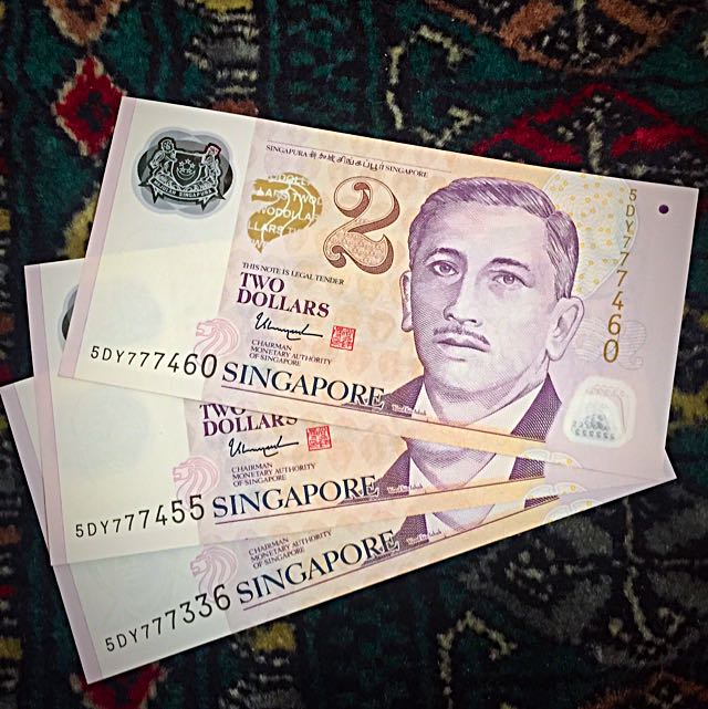 """2005-2010 ++ approx. New Singapore Banknotes $2 Series, Unique & Fancy """"777"""" Series, Uncirculated New, 6 Consecutive Runs & 3 Singles - Total 9 Banknotes In This Lot (#116)."""