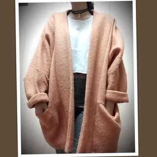 粉橘色毛呢寬版外套