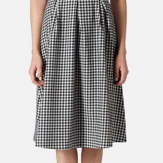 TOPSHOP Gingham A-Line Midi Skirt in UK8 (New)