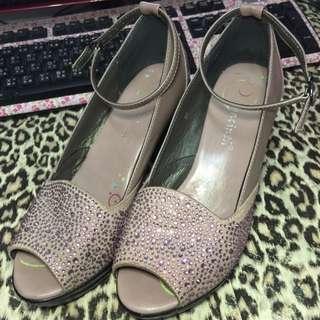 暗紫色鑽石魚口高跟鞋