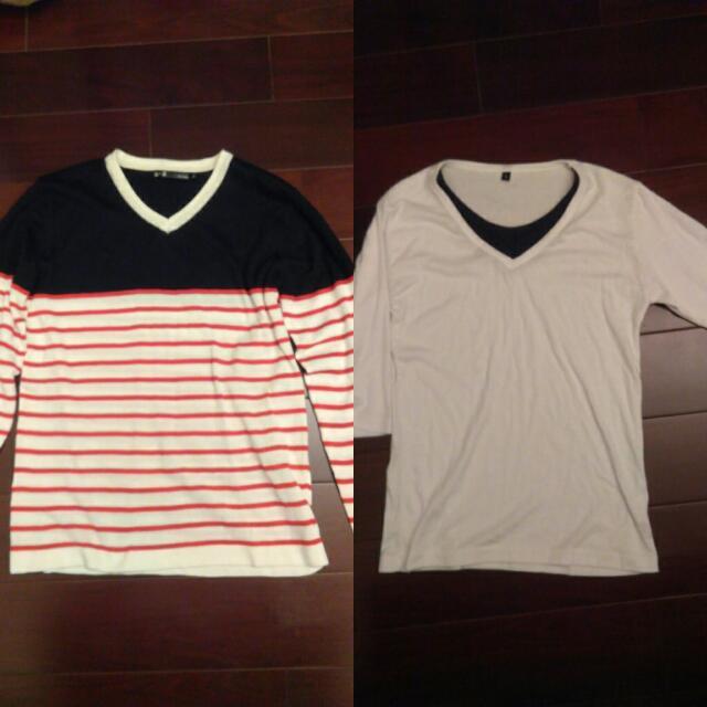 《組合價450》假兩件式黑白T七分   針織條紋衫