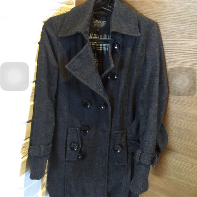 (二手)8成新 專櫃購入 深灰色 大衣外套