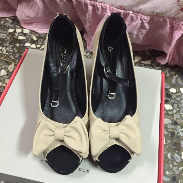 裸色蝴蝶結魚口楔型鞋