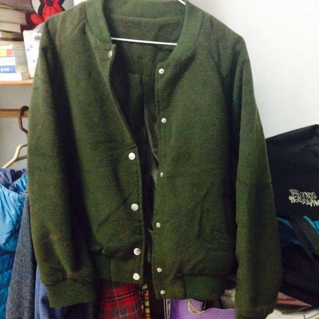 ✨墨綠毛呢飛行外套