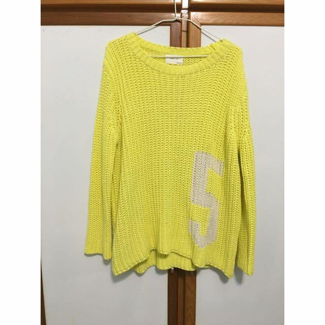 (全新)亮黃厚針織毛衣