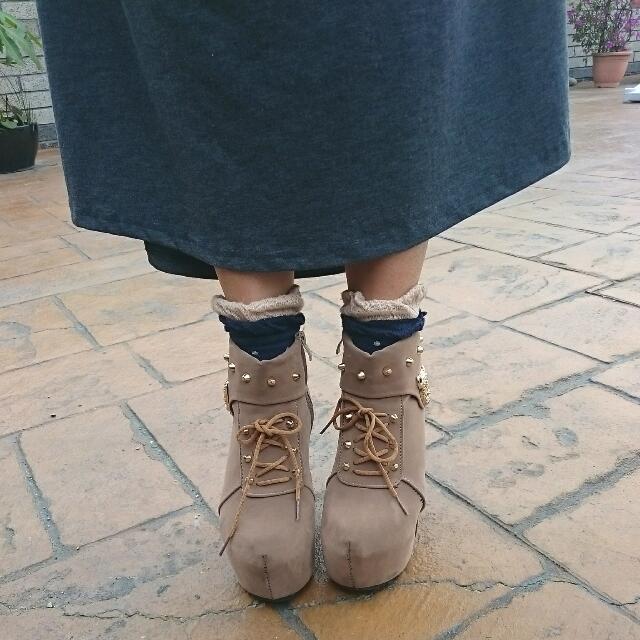 (送)鉚釘厚底高跟鞋
