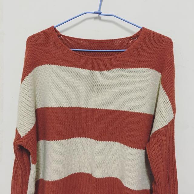 橘白條紋寬鬆版針織毛衣