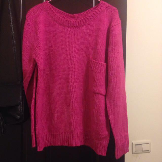 兩面穿粉色針織毛衣