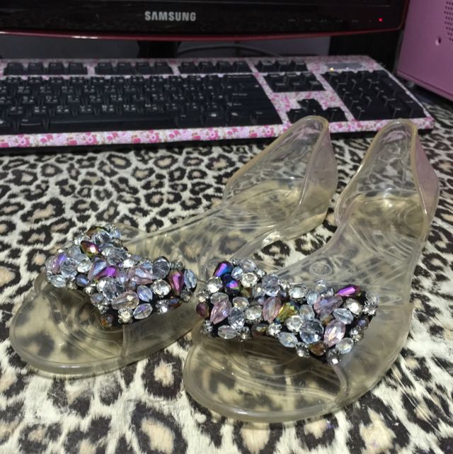 魚口鑽石蝴蝶結玻璃鞋