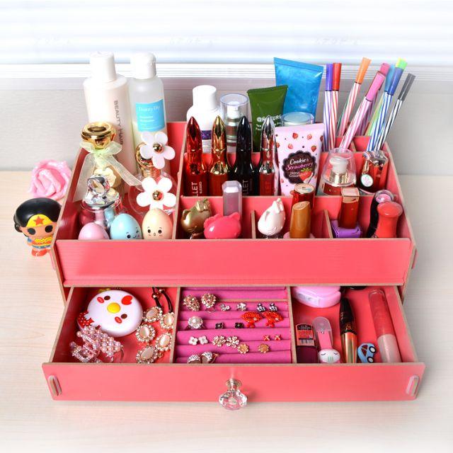 梳妝台收納 首飾盒 木質化妝品收納