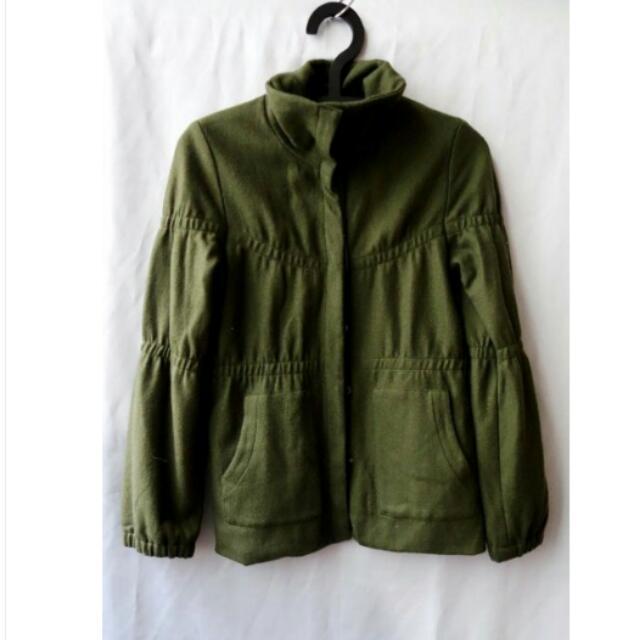 近新 超好看 韓版保暖雙層防風釦修身顯瘦毛尼夾克(墨香綠) 含運
