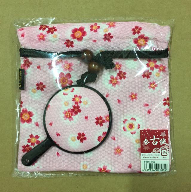 日本製 櫻花小手鏡x束口袋組