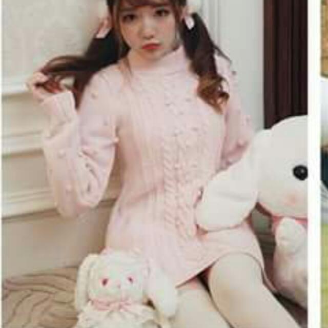 Bobon21粉色針織毛衣