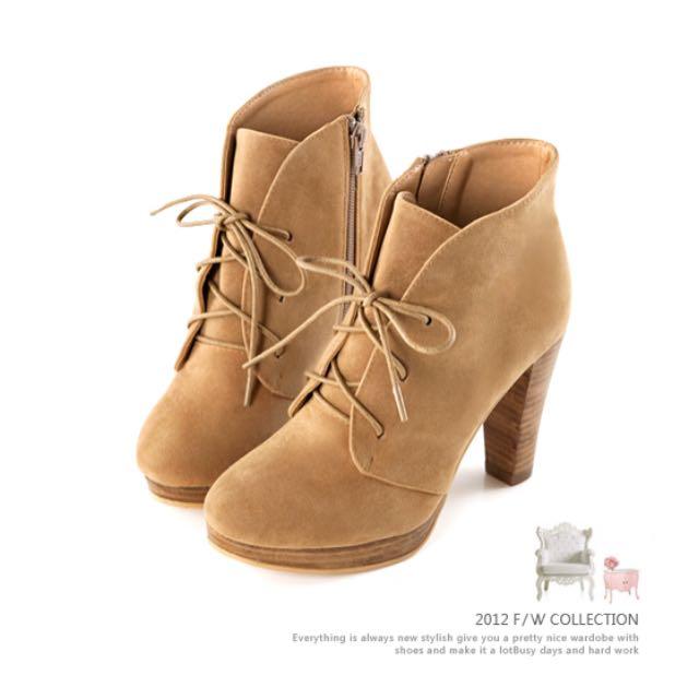 Grace gift駝色粗跟高跟鞋