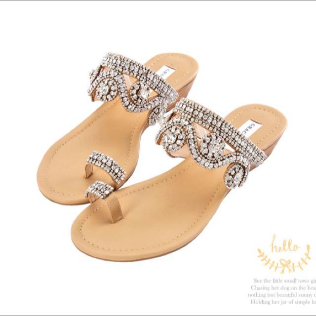 Grace gift奢華宮廷–手工縫製水鑽夾腳涼鞋-銀