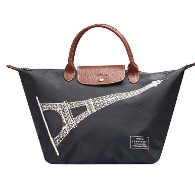 Longchamp 100%正品!法國帶回巴黎鐵塔限定款(全新)短把m