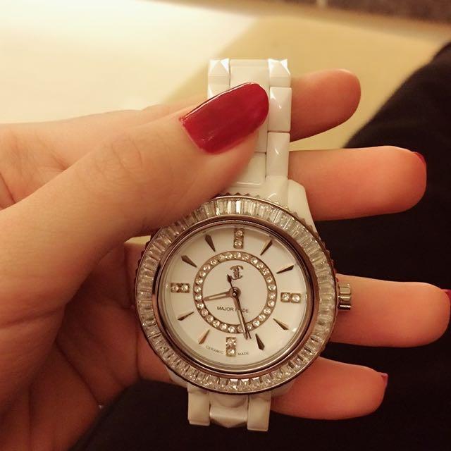 🎀Major Made新款閃亮格紋陶瓷手錶💕白 MJR!Mavis!