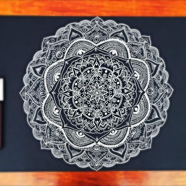 Original Mandala Drawing A3 White On Black