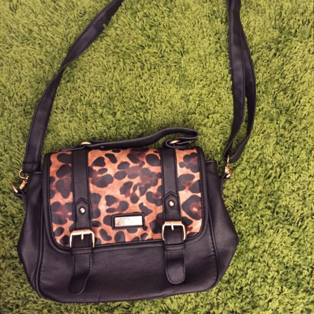 💕二手💕PG美人網 豹紋拼接包 側背包 肩背包 手提包
