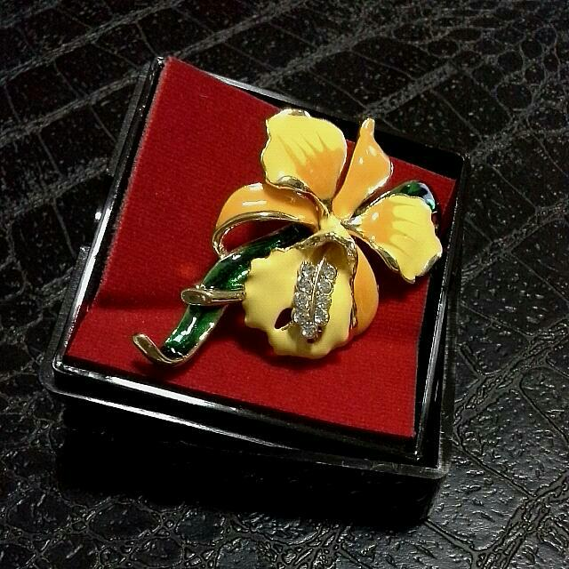 Reduced Price! Yellow Orchid Broach