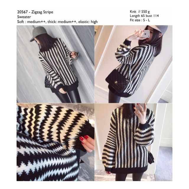 Sweater Murah Import Stripe Knit Cina Korea Style Murah
