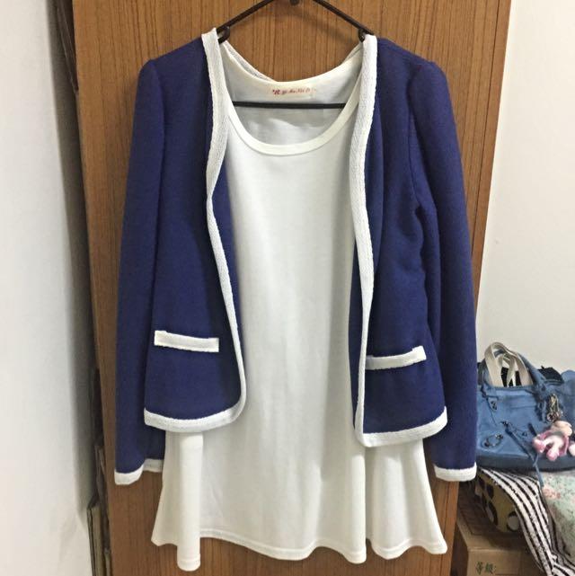 降價‼️藍色開襟薄外套+純白肩挖空長Tee(整套)